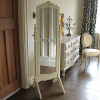 Cream wood freestanding tall cheval mirror shabby vintage chic bedroom furniture