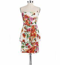BETSEY JOHNSON Ivory Floral Print Back Zip Peplum Dress Sz 6 New