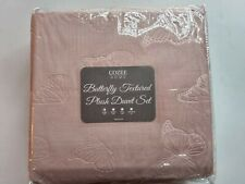 Cozee home butterfly textured plush duvet set single pink