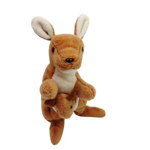 Vintage TY Beanie Babies Pouch the Kangaroo Plush Soft Stuffed Animal Toy  1996