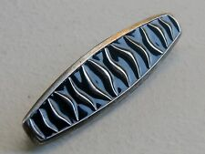 "Norway David Andersen 2 1/8"" Sterling Silver 925S Black Enamel Brooch Pin"