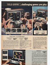 "1977 Vintage Super Pong Tele-game, Speedway Hockey-Jokari 2-page Print Ad 8""x11"""
