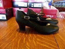 Capezio 551 leather tap ballroom character shoes black NEW sz 7.5M