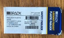 "Brady 99552 Padlock Plastic Red Safety Lock 1-1/2"" Shackle"