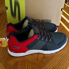 NEW Mens SKECHERS Go Train Viper Sneaker Trainer Athletic Shoe Charcoal Red 12.5