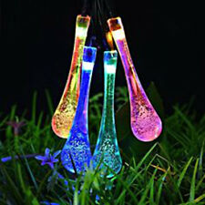 20 Multi-Coloured Teardrop Icicle Hanging Lights LED Solar Powered String Lights