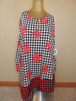 New Womens Anne Klein Plus Size 2X Red Black White Tunic Shirt Blouse Top Loose