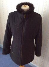 Ladies M&S Zip Front Coat - Faux Fur & Sequins - Black - Size UK 14