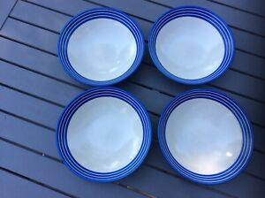 """4 x DENBY INTRO BLUE STRIPE BOWLS * 7.5"""" diameter * Excellent Condition"""