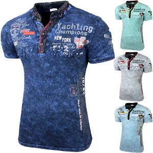 Herren Vintage Verwaschen Kurzarm T-Shirt Design Fashion Top Print Shirt B_3430