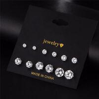 6 Pair Ladies Women Silver CZ Crystal Rhinestone Ear Stud Earrings Wholesale
