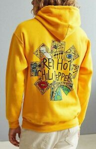 RED HOT CHILI PEPPERS DOODLE Pullover Hoodie Yellow NEW 100% Authentic RARE!!!