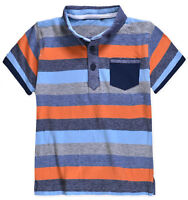Boys T-Shirt New Kids Stripe Short Sleeve Polo Baby Top Blue 9 Months - 5 Years