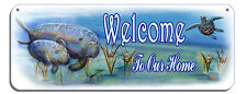 Manatees Sea Turtle Clam Welcome Wall Sign Customize Gifts Outdoor Indoor Plaque
