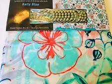 Kelly Blue Bold Flowers Leaves Peva Shower Curtain + Roller Hooks Red