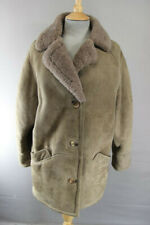 CLASSIC VINTAGE 1970's LIGHT BROWN SUEDE LEATHER SHEEPSKIN LINED COAT: SIZE 14