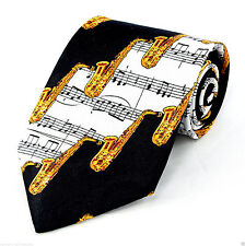 Brass Sax Mens Neck Tie Saxophone Music Necktie Musical Instrument Musician New