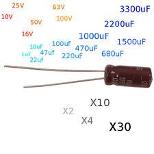Condensateurs chimiques 1uF à 3300uF - 10V à 100V  condensateurs electrolytiques