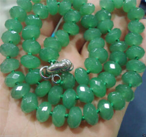 """Faceted 5x8mm Green Emerald Roundel Gemstone Beads Necklace 18"""""""