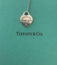 "Please Return To Tiffany & Co. Silver Medium Heart Tag Pendant Necklace 16"""