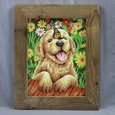 Puppy Gardener Dimensions Crafts Paintworks Paint By Number Rustic Frame 12 x 15