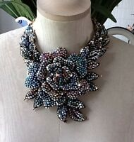 BUTLER & WILSON MULTI CRYSTAL STATEMENT ROSE NECKLACE NEW WITH BOX