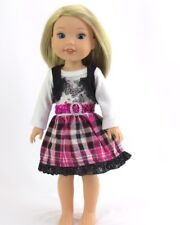 """Doll Clothes 14.5 Inch Wellie Wishers Dress Pink Plaid Butterfly Fit 14.5"""" Dolls"""