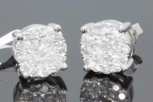 10K WHITE GOLD 1.12 CARAT MENS WOMENS 9 mm 100% GENUINE DIAMONDS EARRING STUDS