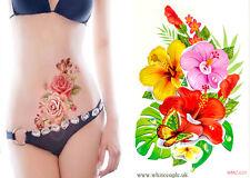 Big flower tattoo women waterproof temporary tattoo body art sticker flowers