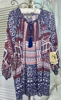 NEW Plus Size 2X Blue Red Peasant Top Blouse Shirt $56