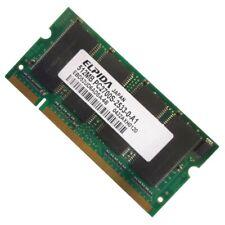 512Mo RAM PC Portable SODIMM ELPIDA EBD52UD6ADSA-6B DDR1 PC-2700S 333MHz