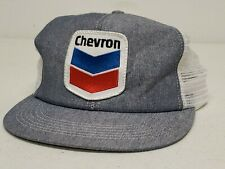 Vintage CHEVRON Denim Trucker Hat Foam Mesh Snapback Patch K Products USA Made