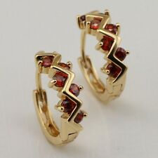 Classy Red Ruby Fashion Jewelry Gift Gold Filled Huggie Earrings er1117
