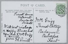 1906 Postcard sent to Mrs Grigg, Thanet Cottage, Bedonwell, Belvedere, Kent