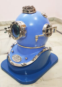 "Blue Antique Scuba 18"" Divers Helmet Boston Navy Mark V Deep Sea Diving Helmet"