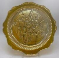 "Iris Iridescent by Jeannette Flora Gold 9-1/2"" Dinner Plate Depression Glass"