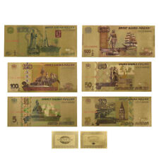 WR Russian Federation Color Gold Banknote Set 6PCS Bank of Russia 5 -1000 Rubles