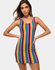MOTEL ROCKS Uniper Bodycon Dress in New Vertical Mixed Stripe M Meduim   (mr61)