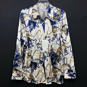 Tess Women Silk Vintage Blouse NWT 2000 Millennium NY New Year White Womens 1X