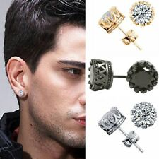 6/8/10mm Men Women Sterling Silver Post Stud Crown Cubic Zirconia Earrings Gift
