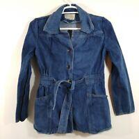 Montgomery Ward Womens Denim Jean Jacket Tie Waist Vintage