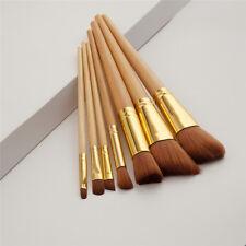 7Pcs Professional Wood Makeup Eyebrow Eyeshadow Powder Brush Set Cosmetic Kit