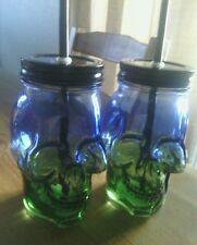Blue/green skull glass mason jar w/ lid & reuseable straw 16 oz. NEW