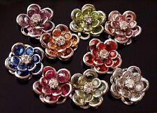 10x Rhinestones Flower Bead Charms Pendants Flat Back Mixed 17mm (TSC91B)