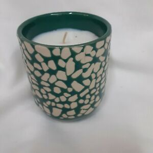 """New candle green and cream ceramic jar FRESH FERN scent 3.5"""" high x 2.5"""" wide"""