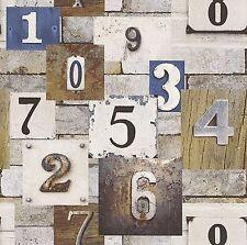 NUOVO Rasch dipinto legno e metallo numeri carta da parati muro di pietra effetto 202502
