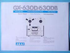 Operator's Manual-Bedienungsanleitung für Akai GX-630D/630DB