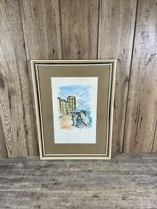 Signed & Framed Watercolour Painting Of Seafront Village In Corfu.