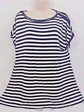 NWT Max Studio Womens Top Small Blouse Career Work Navy Stripe Short Sleeve