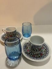 Turkish Coffee ( Espresso ) Coffee Cups,Saucer, Small Water Glasses - Set Of 2